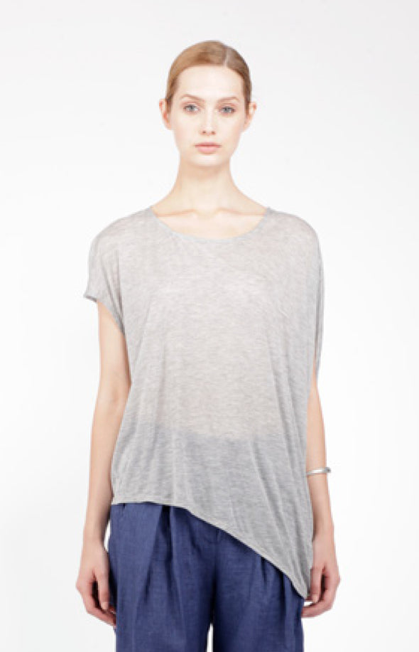 TENCEL ASYMMETRIC TOP - GREY MARLE