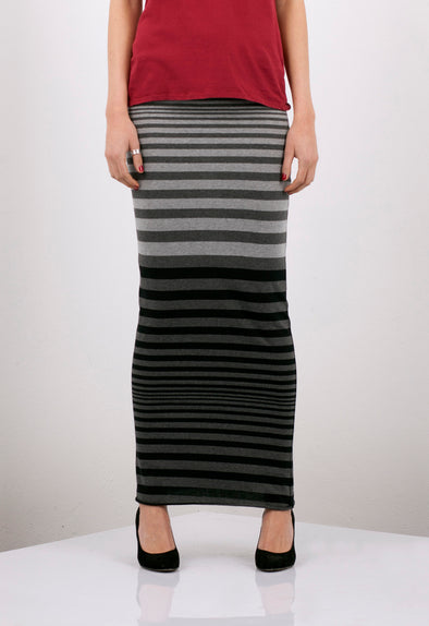 COTTON STRIPE TUBE MAXI SKIRT - Tluxe
