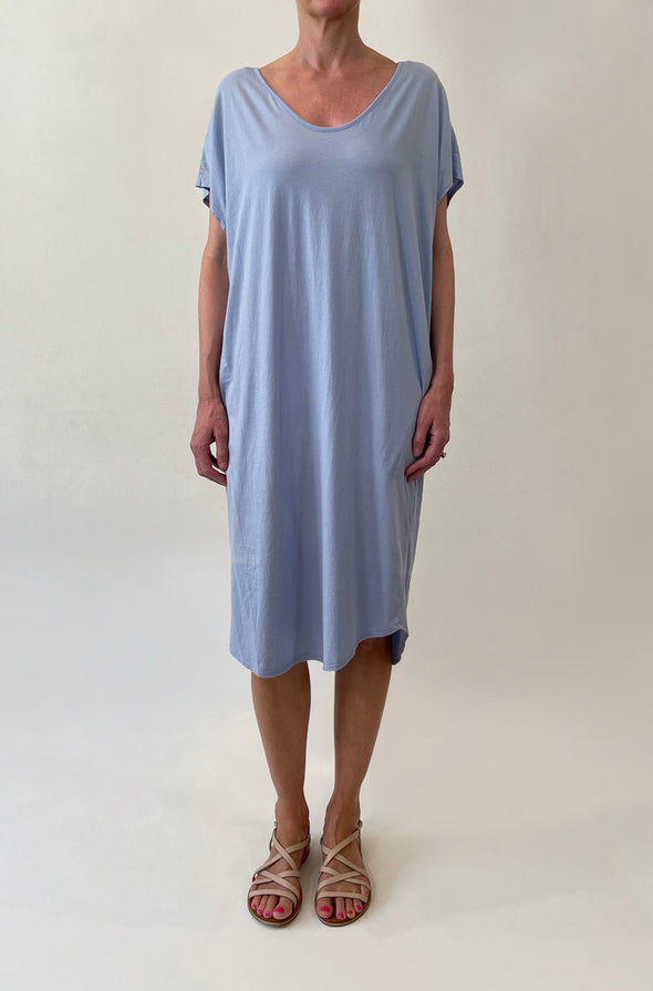 ORGANIC COTTON COCOON DRESS - POWDER BLUE - Tluxe