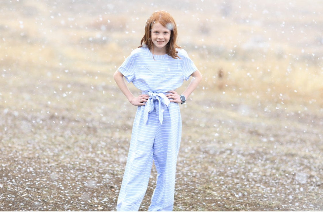 Tween Blue and White Striped Jumper