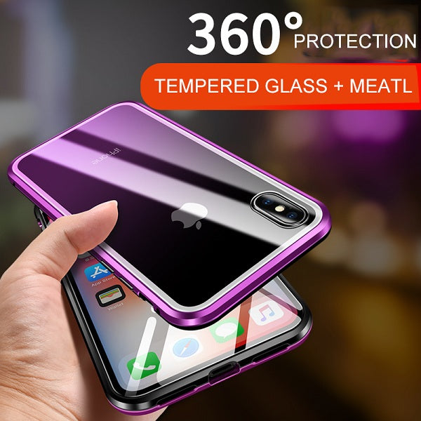 360º Full Body Magnetic Adsorption+Front & Back Glass Protective Case For iPhone X / XS / XR / XS MAX