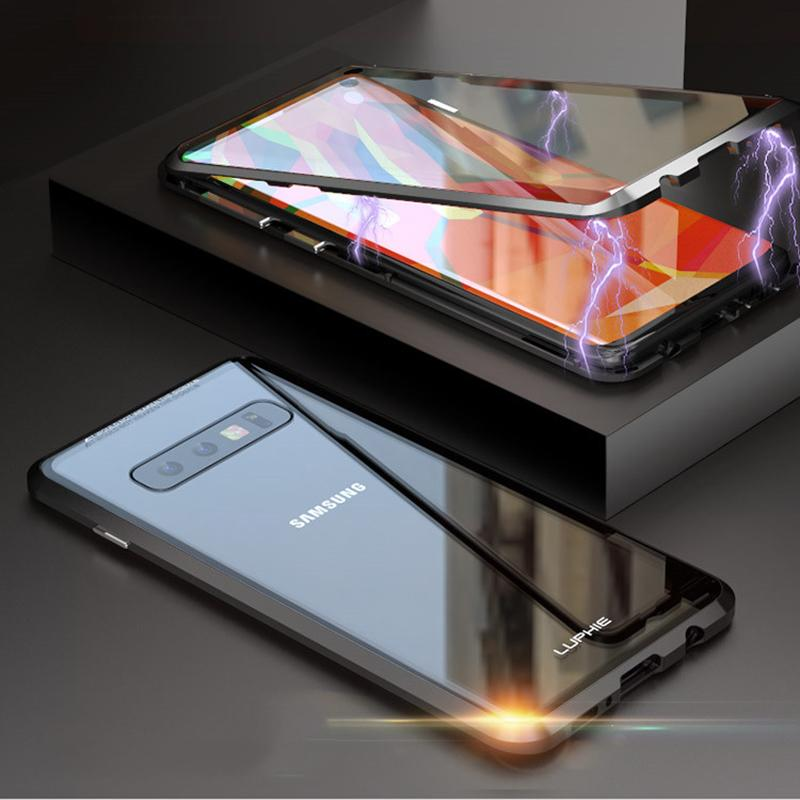 Magnetic Adsorption Transparent Tempered Glass Two side Glass Cover Phone Case For Samsung S10E/S10/S10PLUS