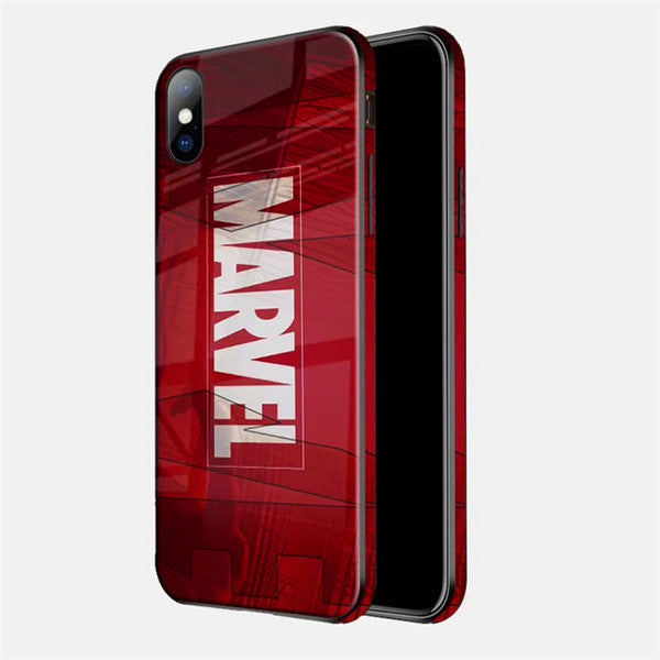 Marvel And DC Series Color Edges Tempered Glass Phone Case For iPhone