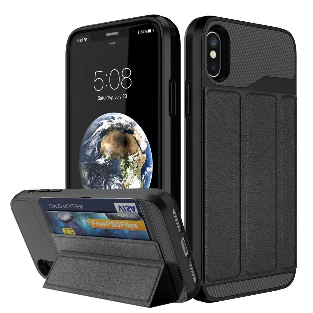 [Military Grade Drop Protection] Flip Leather Cover Card Slot Holder Phone Case with Kickstand for iPhone X / XR / XS / XS MAX
