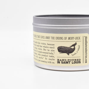 Close-up of the Moby Dick-Scented Candle label.