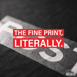 Fine print for graphic t-shirt designs by Post Six