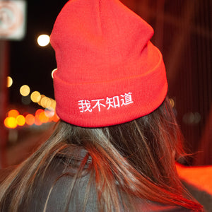 I don't Know custom embroidered beanie design from Post Six
