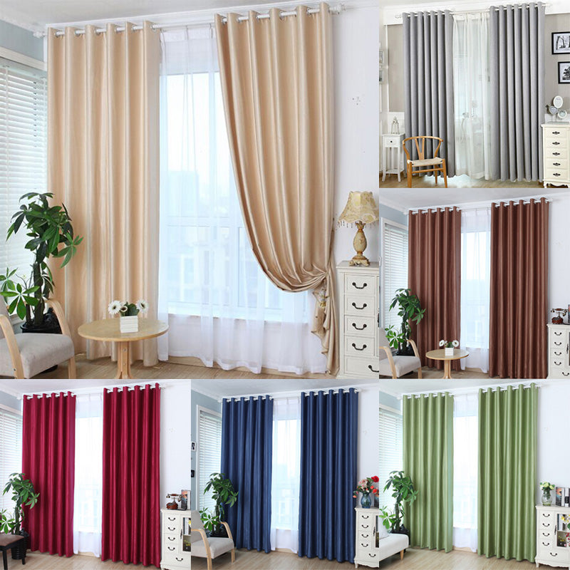1pcs Grommet Window Curtain Bed Room Valances Window Curtains Shade Traverse Pull purdah Sun Blocked Living Room Curtain