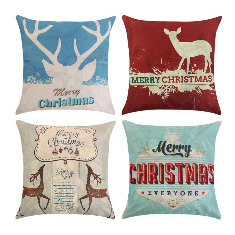 Merry Christmas Pattern Pillow Case Bed Throw Pillowcase Linen Throw Pillows Cases Home Textile Almofada Decorative Pillowcase