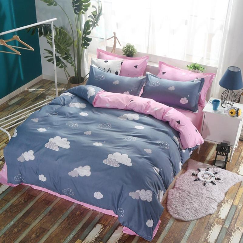 3/4Pcs Bedding Set 4 size Grey Pink Bed Linens Duvet Cover Set Pastoral Bed Sheet AB Side Duvet Cover Pillowcase