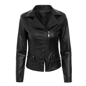 Glamaker PU leather jacket Women winter zipper black long sleeve short club jacket coat Female party overwear moto jacket coat