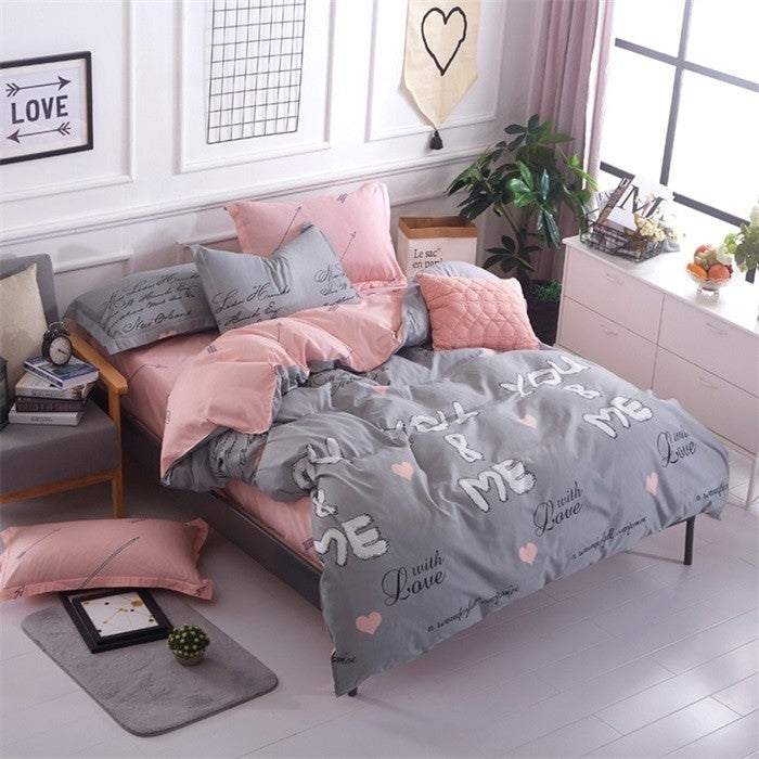 High Quality Soft Cotton Bedding set You&Me Duvet Cover set Bed Linen King/Queen/Full/Double/Twin