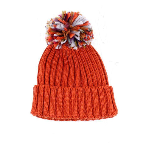 Burnt Orange Pom-Pom Hat