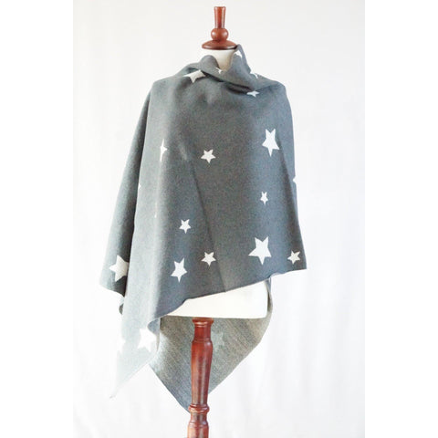 Silver and grey star winter poncho