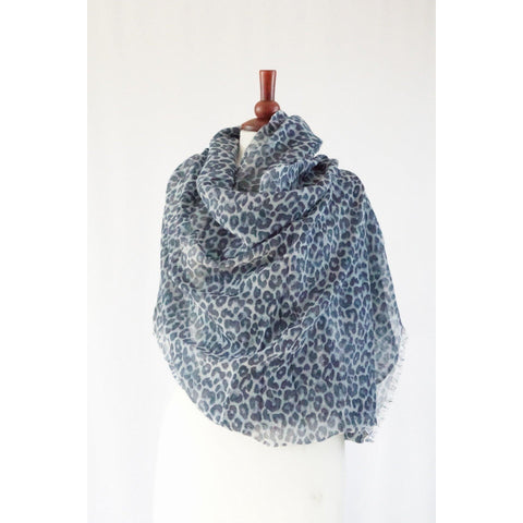 Blue mix animal print wool mix scarf