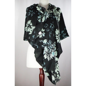 Black, Mint, Aqua Flower Print Scarf