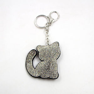 Crystal encrusted cute kitty shaped key ring