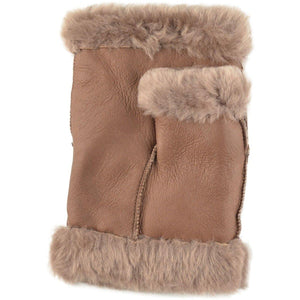 Fingerless Real Leather Gloves With Fur Trim
