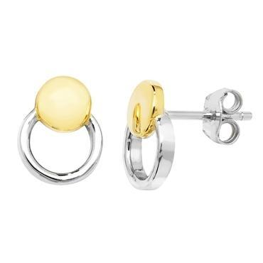 Open Circles Gold Plated Stud Earrings