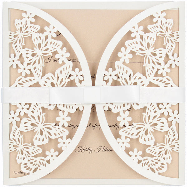 Invitation Flutterby Diy Nude, 15,5x15,5cm