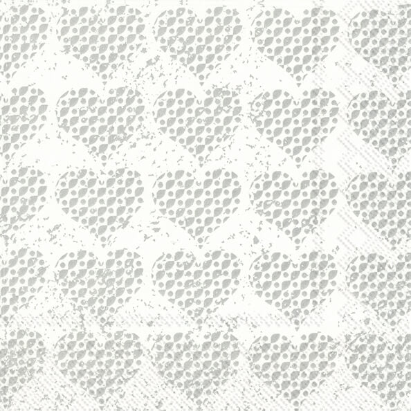 IHR frokostserviet Fancy Hearts Silver 33x33, 20 stk