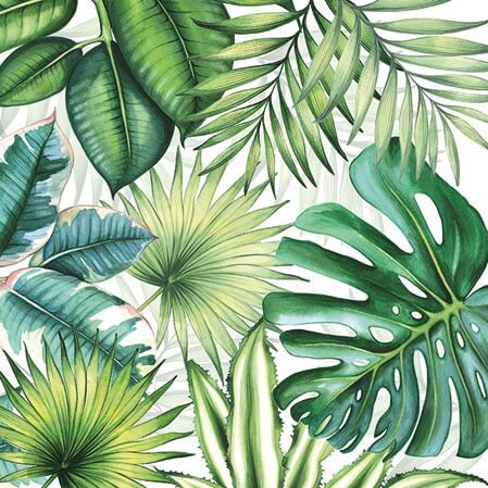 Ambiente Tropical Leaves White Frokostserviet 33x33cm, 20stk