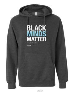 Black Minds Matter, Unisex Hooded Sweatshirt (Black & Heather Charcoal)