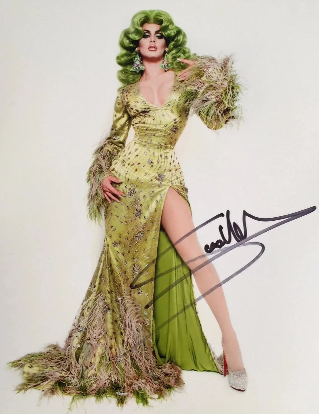 Signed Scarlet Envy green print