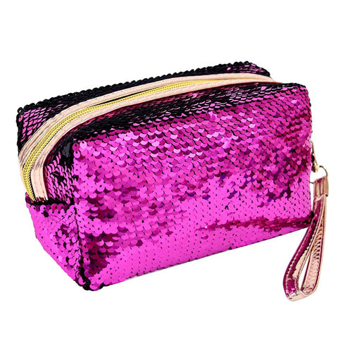 Sequin Cosmetic Bag - Fuchsia