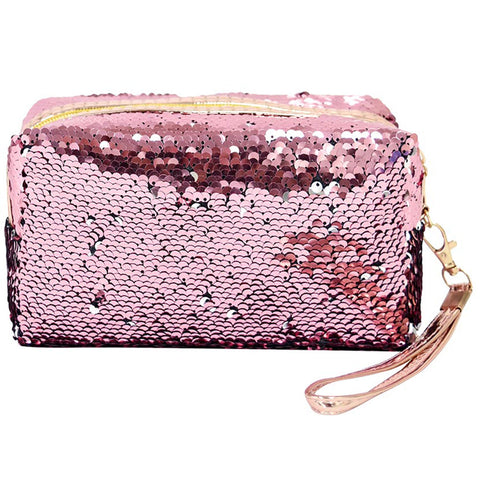 Sequin Cosmetic Bag - Pink