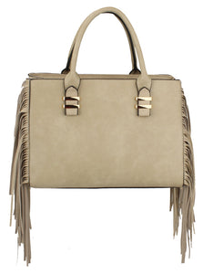 FRINGE HAPPY SATCHEL -  LIGHT GREY