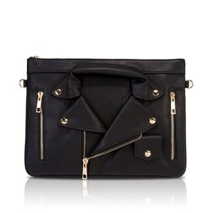 GRAB MY BIKER JACKET CLUTCH - BLACK