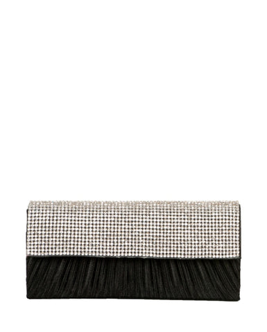 SATIN AND DIAMOND CLUTCH WITH CHAIN STRAP