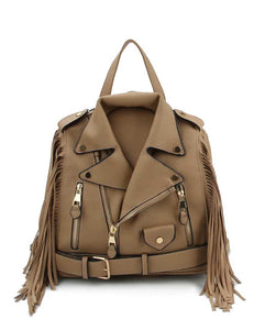 Biker Fringe Glory Backpack -Tan