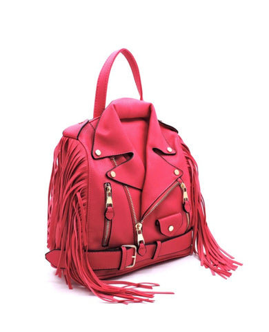 Biker Fringe Glory Backpack - Hot Pink