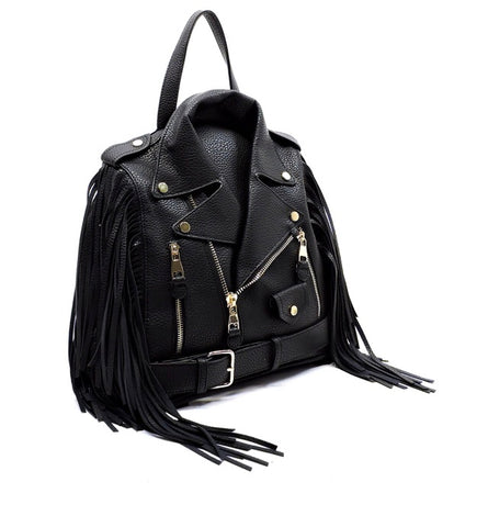 Biker Fringe Glory Backpack and Crossbody- black