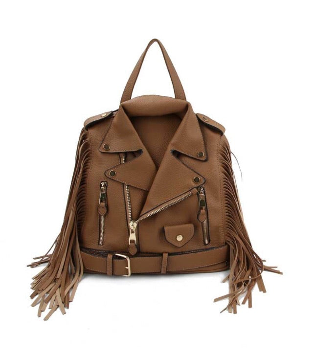 Biker Fringe Glory Backpack - Coffee