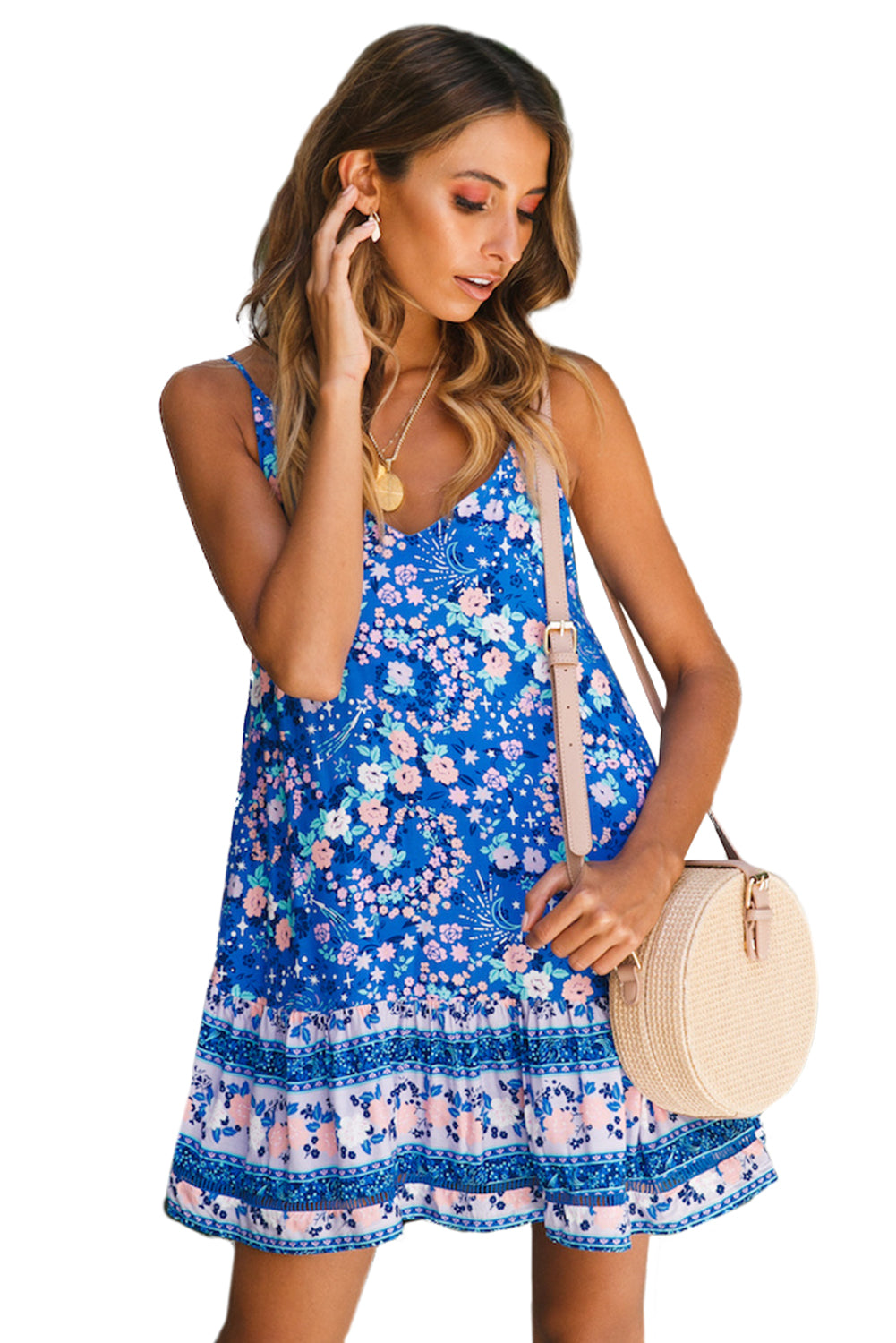 Sky Blue Floral Slip-on Dress