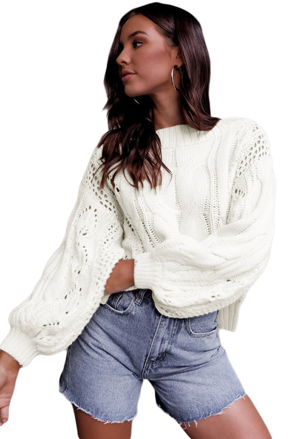 White Loose Fit Knit Hollow Out Jumper Sweater