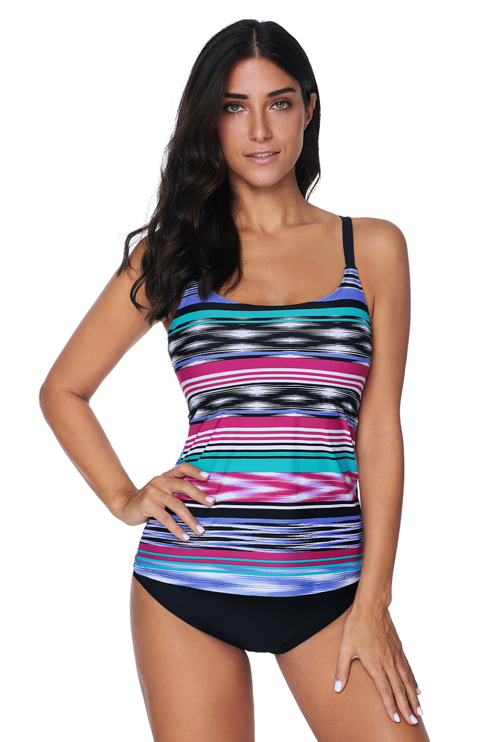 Multicolor Tie Dye Striped Tankini Top