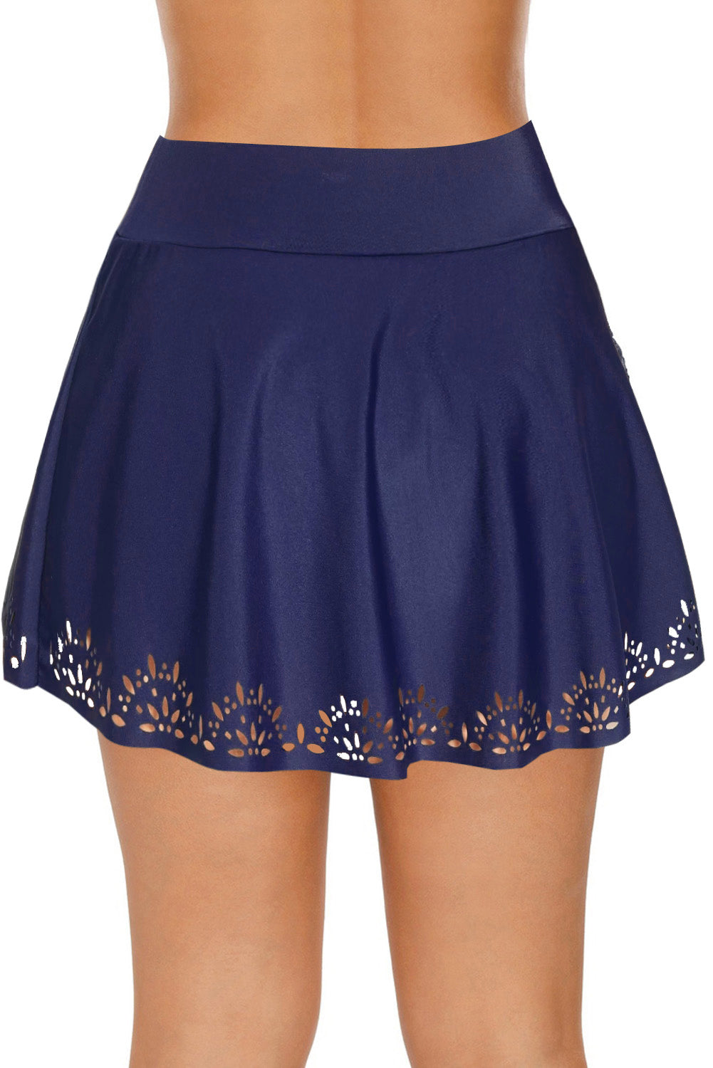 Blue Women's Laser Cut Swim Skirtini