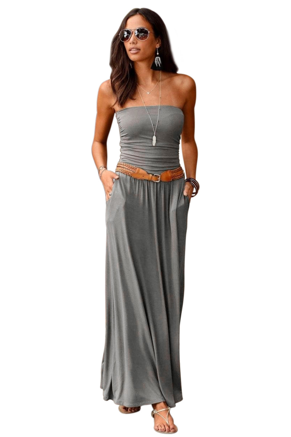 Gray Strapless Bodice Empire Waist Maxi Dress