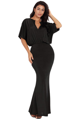 Sexy V Neck Maxi Party Dress in Black