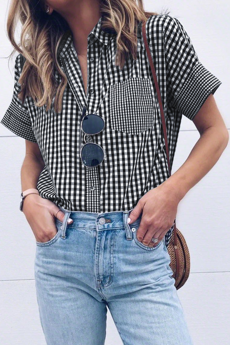 Black Gingham Play Button Down Shirt
