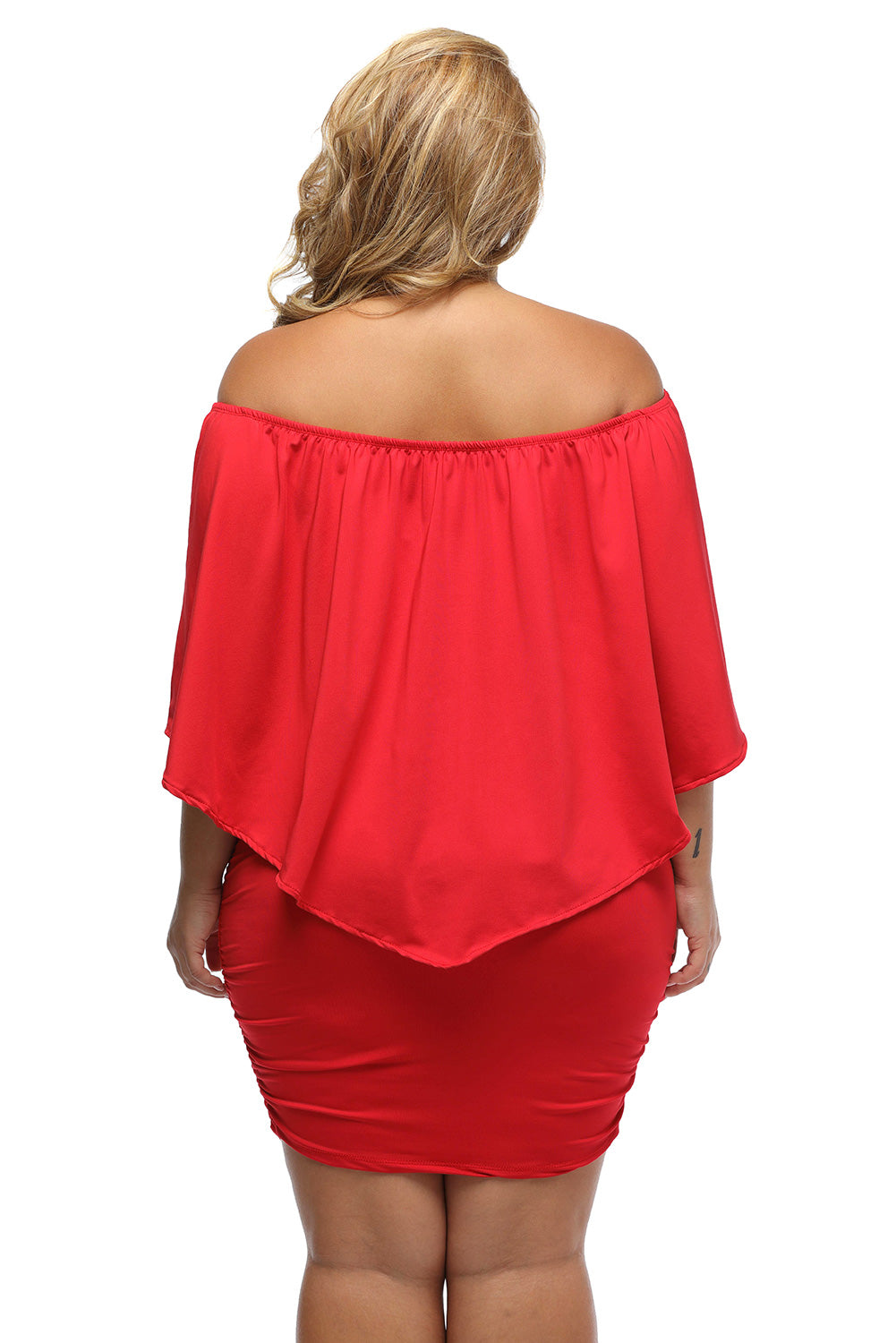 Plus Size Multiple Dressing Layered Red Mini Poncho Dress