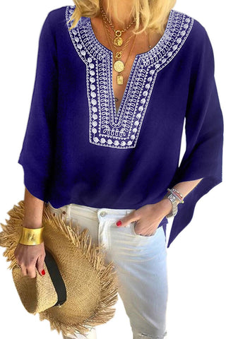 Green Elbow Length Sleeves Front Embroidery Blouse