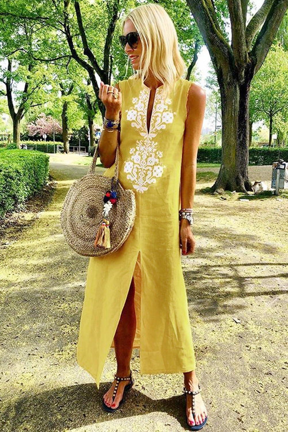 Yellow Sleeveless Casual Slit Geometric Summer Dress