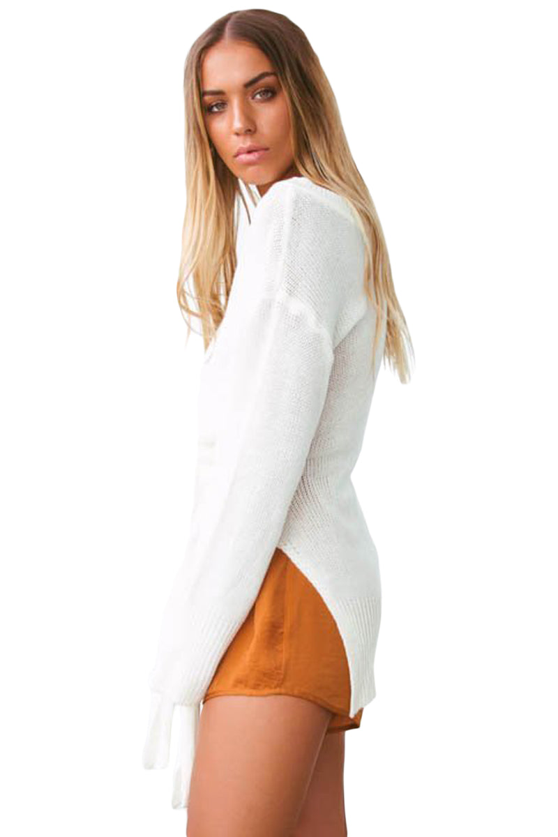 White Side Split Belted Pullover Sweater
