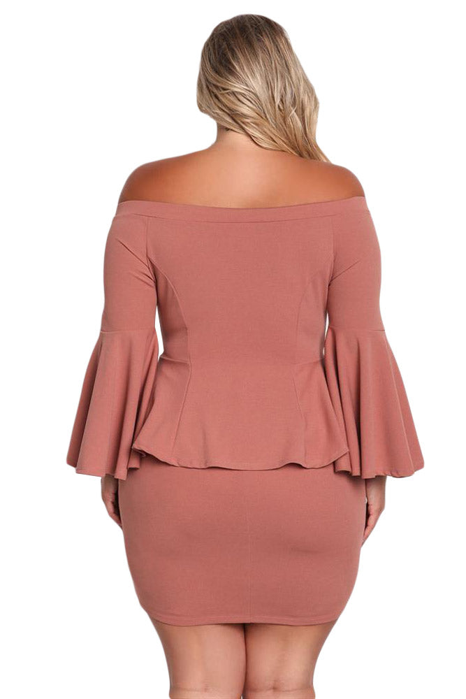 Dusty Pink Off The Shoulder Bell Sleeves Peplum Plus Dress