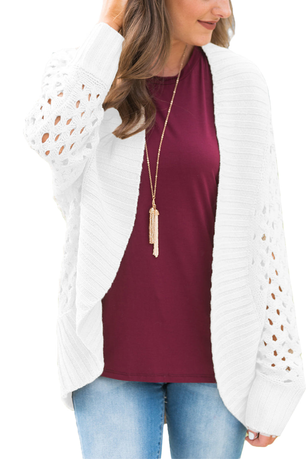 White Hollow Out Knit Long Sleeves Cardigan